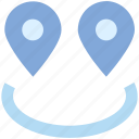 connection, direction, gps, locate, locations, pins, two icon
