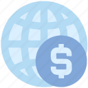 business, currency, dollar, finance, globe, money, world icon