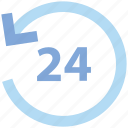 24, 24 hours, availability, business, customer, open, service icon