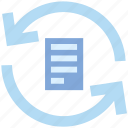 arrows, document, document list, file, page, refresh, sync file