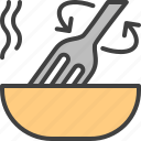 cooking, fork, hot, mix, plate icon