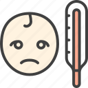 baby, disease, sick, temperature, thermometer icon