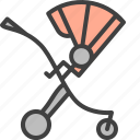 baby, baby carriage, buggy, pram, stroller icon