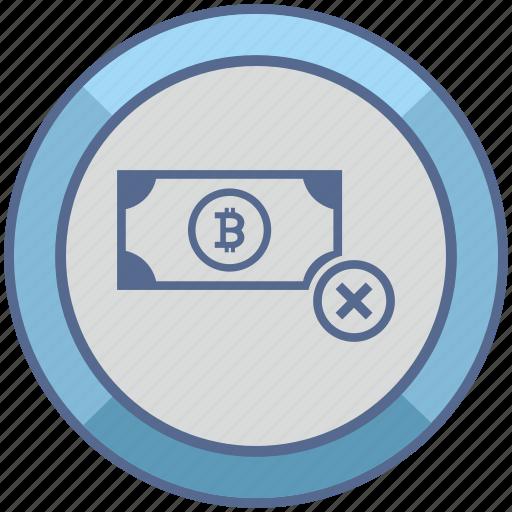 ban, bitcoin, blockchain, money, stop icon