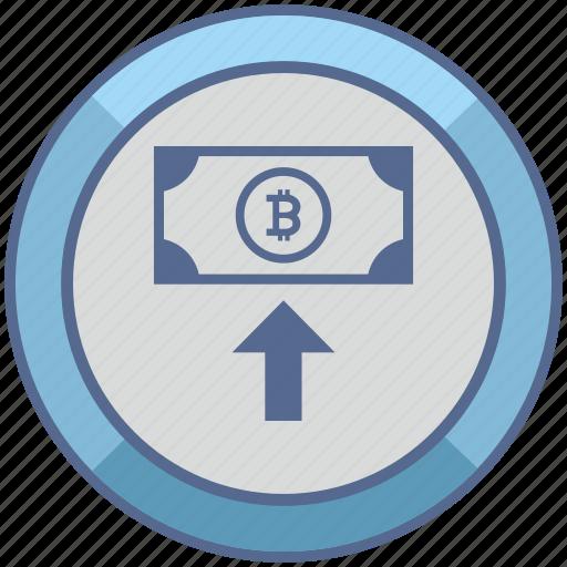 bitcoin, cash, in, money, transfer icon