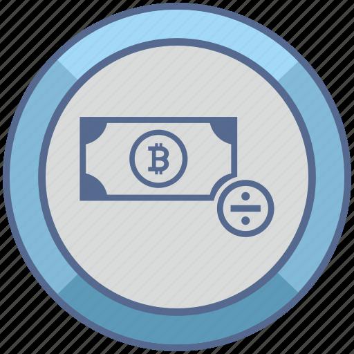 bitcoin, cash, divide, money, operation, sum, value icon