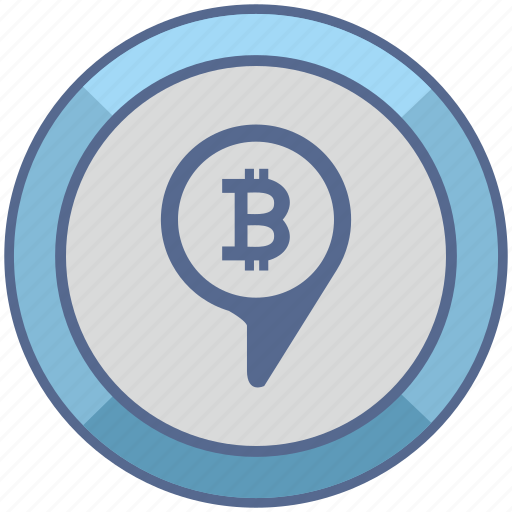 bitcoin, geo, money, pin, pointer, transfer icon