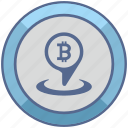 bitcoin, geo, location, money, pin, pointer icon