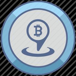 bitcoin, geo, location, money, pin, pointer icon