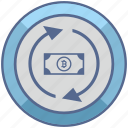 bitcoin, exchange, money, transaction, transfer icon