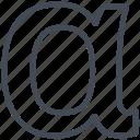 alpha, letter, math, mathematics, sign icon