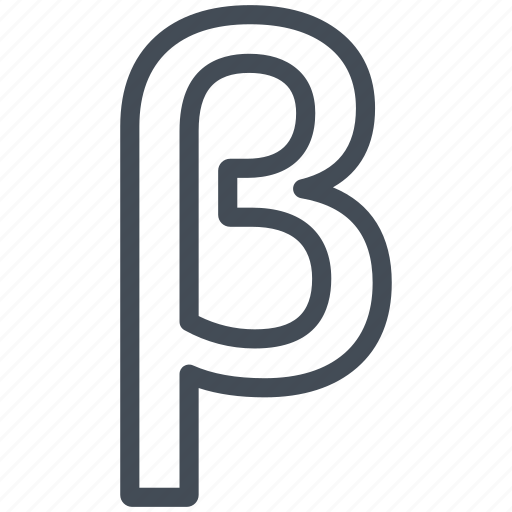 beta, letter, math, mathematics, sign icon