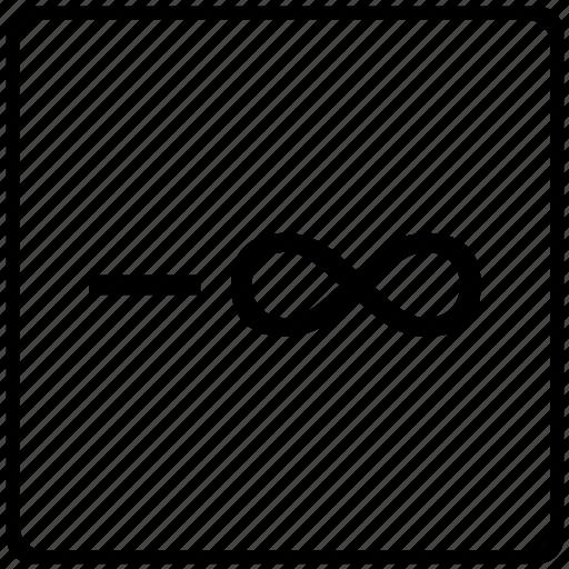 infinity, math, mathematical, minus, sign icon