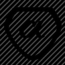 alfa, greek, letter, shield, sign icon