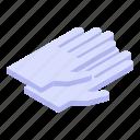 medical, cartoon, gloves, hand, rubber, logo, isometric icon