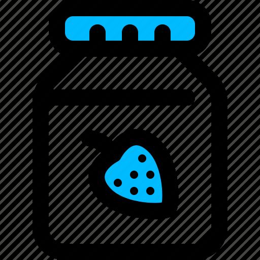 breakfast, jam, jar, strawberry icon