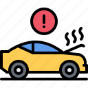 breaking, car, hood, mechanic, service, smoke, transport icon