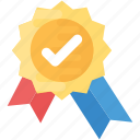approved symbol, award medal, certification, quality check, winner emblem icon