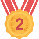 award, medal, position medal, reward, second icon