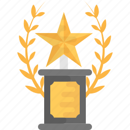 award, champion trophy, prize, star shield, winner icon