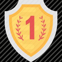 achievement award, best performance, first prize, gold shield, winner award icon