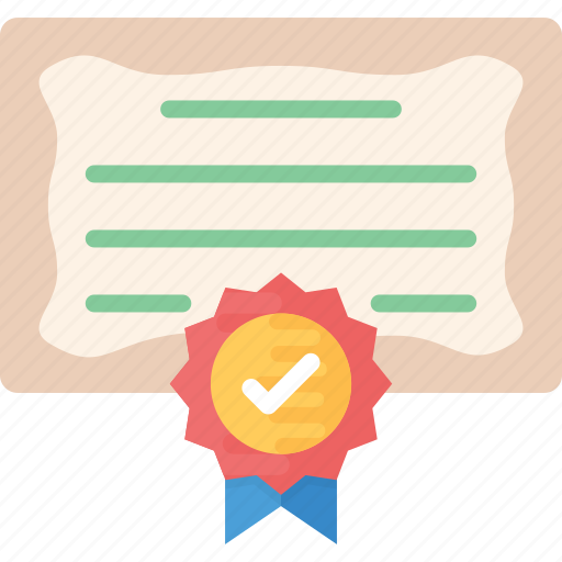 certificate, character certificate, degree, diploma, licence icon