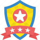 award, prize, ranking badge, rating, star shield icon