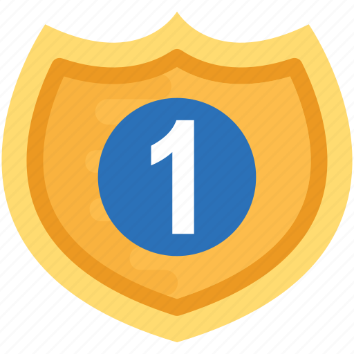 crest logo, golden shield, guarantee shield, number one shield, warranty emblem icon