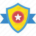 badge, emblem, honor, rank, star shield icon