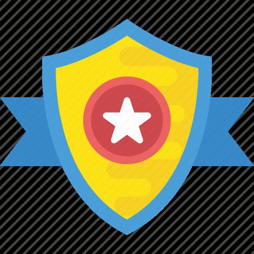 badge, emblem, honor, rank, star shield icon