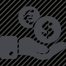 dollar, euro, hand, money icon