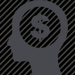 cash, dollar, head, shopping icon
