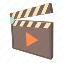 cartoon, cinema, clap, clapboard, movie, play, video icon