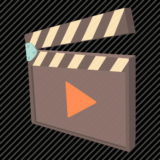 cartoon, cinema, clap, clapboard, movie, play, video icon