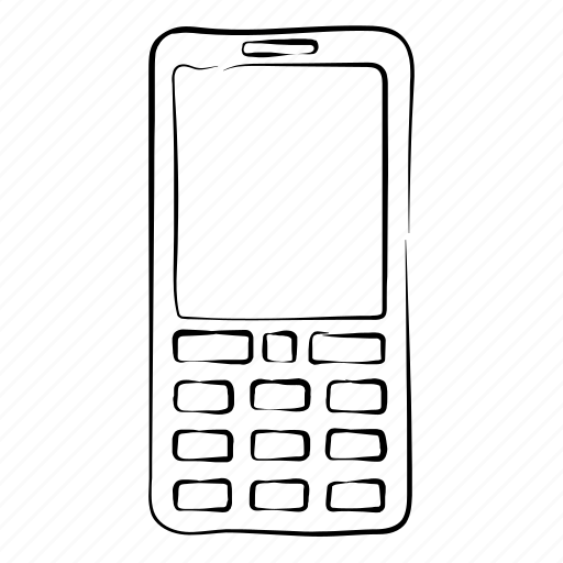 cell phone, cellular, hand drawn, mobile phone, phone icon
