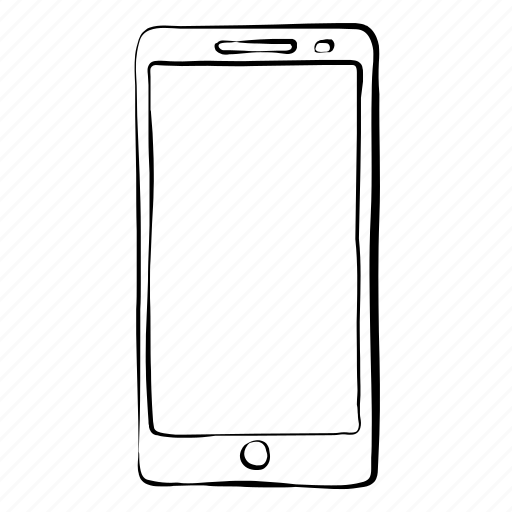 cell phone, hand drawn, mobile, phone, smartphone icon