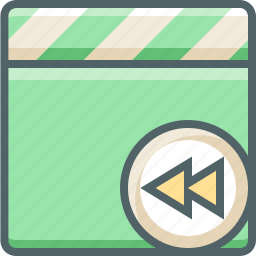 back, clapper, left, media, multimedia, previous icon