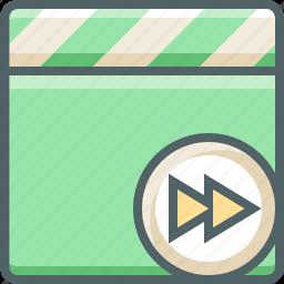 clapper, forward, media, multimedia, next, player, right icon