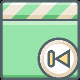 back, clapper, left, media, multimedia, previous, skip icon