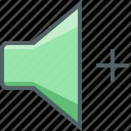 add, increase, loud, loudspeaker, multimedia, speaker, volume icon