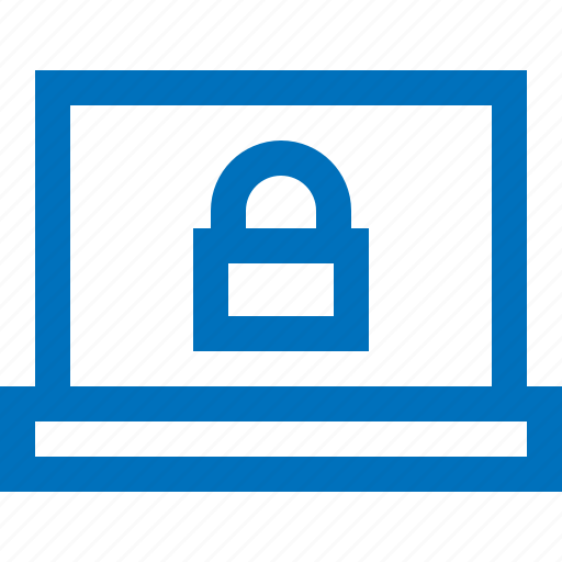 computer, key, laptop, lock, protection, security icon