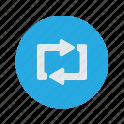 continue, continuous, loop, refresh, round icon