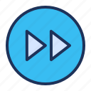 forward, increase, media player, speed icon
