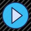 media player, play, resume, start icon