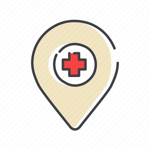 cross, delete, navigation, pin, place, red icon