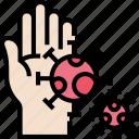 germ, microorganism, hand, pathogen, contagious icon