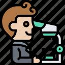 microscope, magnify, researcher, laboratory, scientist icon