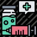syringe, needle, injection, vaccination, medication icon