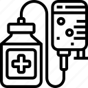 saline, solution, iv, bag, treatment icon
