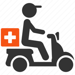 delivery, drugs, medical, medicine, motorbike, motorcycle, transportation icon